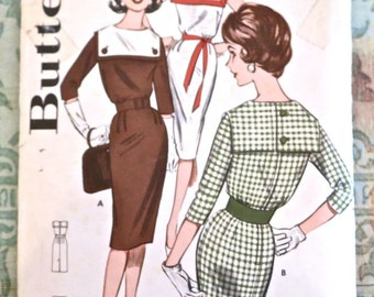 Vintage 1950s Womens Sheath Dress Pattern with Sailor Collar Variations - Butterick 9537