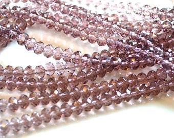 Amethyst Crystal Rondelle Beads  50