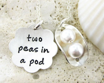 2 PEAS in a POD - Personalized / Celebrate weddings, new born baby, or friendship / Sterling silver and Swarovski Crystal Pearls  (NP003)