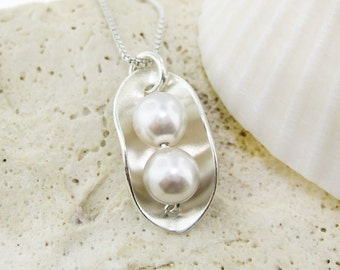 2 PEAS IN A POD Necklace - Sterling silver and Swarovski Crystal Pearls