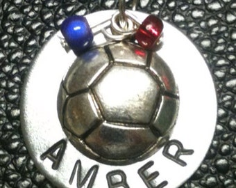 Personalized hand stamped washer soccer ball necklace