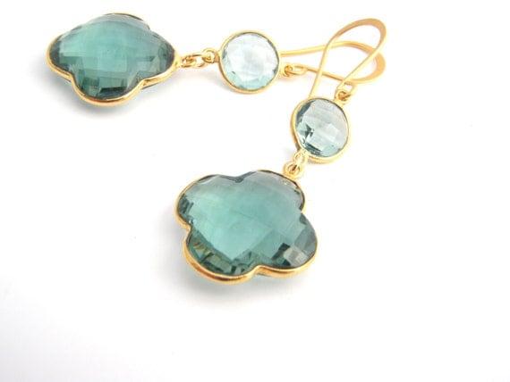 Aquamarine And Green Tourmaline Clover Earrings, Quatrefoil, Light Blue, Teal Green, Chandelier Earrings