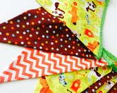 Puppy Dogs, Dots and Chevrons Children's Whimsical Fabric Banner Garland Flags