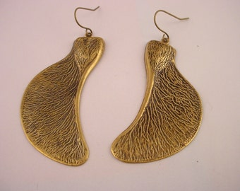 Antique Gold Maple Seed Earrings Nature Woods Forest Autumn Season Hanging Earrings