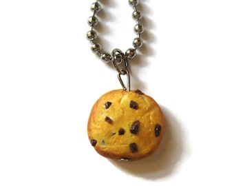 Chocolate Chip Cookie Necklace, Miniature Food Jewelry, Polymer Clay