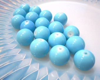 On Sale 35 pcs Turquoise Blue Glass Beads, 8mm Round Blue Aqua glass beads, S 123
