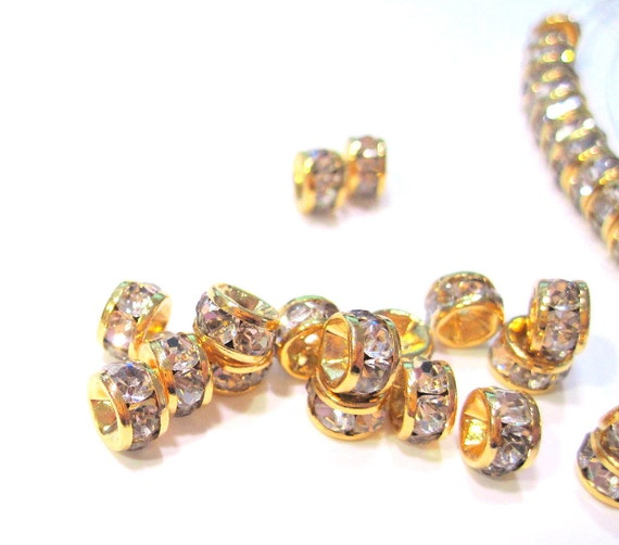 Swarovski Crystal Clear Rhinestone Gold Plated Rondelle Spacer beads 5x3mm MB 204