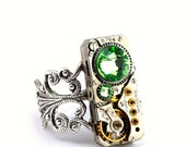 Steampunk Ring Vintage WALTHAM Clockwork Boldly bejeweled with Light Peridot Green Swarovski Crystals - Steampunk Jewellery PROMPTLY SHIPPED