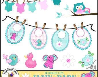 Jazzy Baby Bubblegum - 12 digital clipart graphics - bibs, clothesline, T-shirt, elephants, owls, etc in pink, aqua, teal {Instant Download}