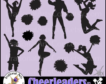 INSTaNT DOWNLOaD Cheerleader Silhouettes set 2 EPS and SVG VINYL Ready files and 11 png digital  clipart graphics & small commercial license