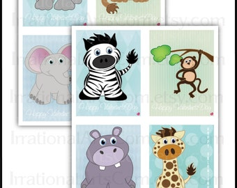 African Animals Valentines Day Cards for kids class exchange DIY Printing giraffe elephant zebra monkey hippo Jpg & Pdf[Instant Download]
