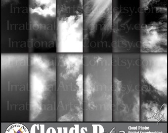 Clouds D Set 2 - digital scrapbooking papers - 12 jpg images of Black and White skies with clouds {Instant Download}