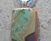 Fused Glass Pendant with ribbon necklace:  Silver Stream Reaction