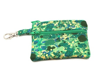 Small Zippered Wallet Change Purse Gadget Case   Green with Gold Splotches