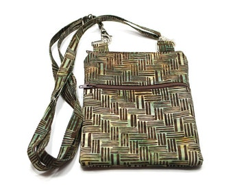iPhone Cell Phone Case, Smartphone Phone Purse, Small Cross Body Bag, Adjustable Strap, Brown and Green Batik