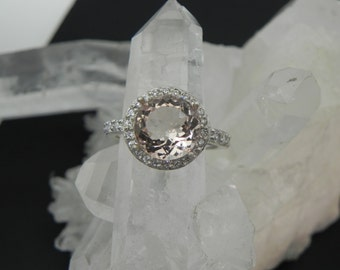 AAA Peach Morganite   9mm  2.36 Carats   14K White gold and diamond Halo ring 0122 y