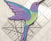 """Stunning Large HUMMINGBIRD in FLIGHT Embroidered Iron on Patch - applique - 5.75"""" x 4.25"""""""