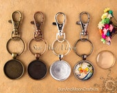 10 Craft Kits Key Chains ~10 Lobster Swivels (Heavy Duty) 10 Key Rings, 10 1 inch (25mm) Circle Trays w 10 25mm FX Glass Domes, Sample Glaze