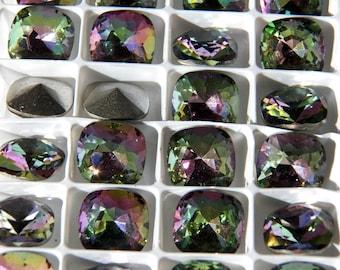 Vintage Swarovski Orchid Faceted Antique Square Crystal Stones  14mm (1)