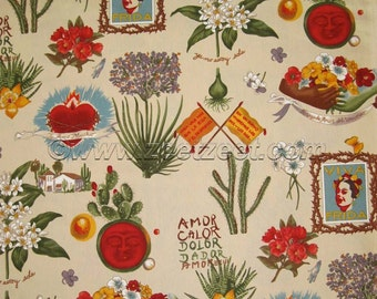 VIVA FRIDA PARCHMENT Alexander Henry Frida Kahlo, Mexico, Mexican Floral Cotton Quilt Fabric - by the Yard
