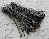Black Gunmetal ball headpins, 2 inches, 24 gauge, 100pcs  HP7501