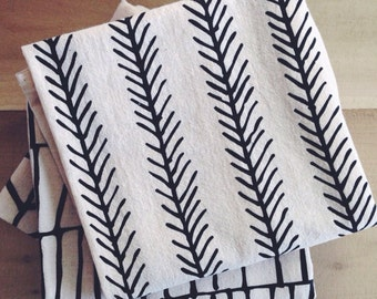 FEATHER Tea Towel - Screen Printed Organic Cotton Flour Sack Towel - Soft and Absorbent Dish Towel - gift - home decor - house warming