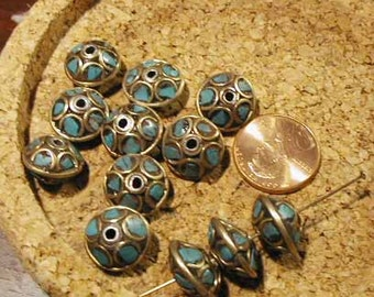 Turquoise Brass Bead - Nepal - 2pcs.