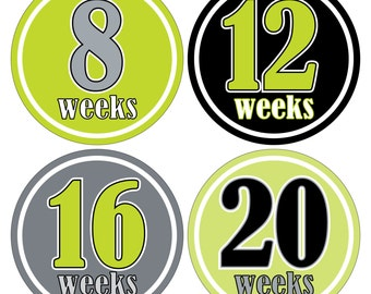 12 Weekly Pregnancy Mama-to-be Maternity Waterproof Glossy Stickers  - Monthly stickers available - Design W009-01
