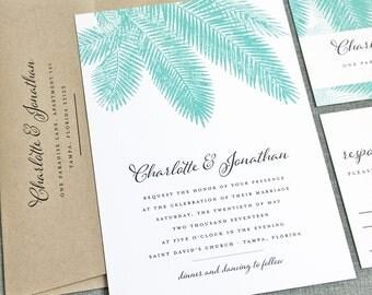Charlotte Teal Palm Tree Wedding Invitation Sample - Beach, Destination, Tropical Wedding Invitation