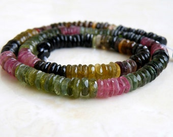 Tourmaline Gemstone Tyre Tire Faceted Heishi Multi  6mm 95 beads 1/2 strand Wholesale