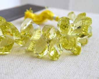 Lemon Quartz Gemstone Briolette Faceted Twist Tear Drop 14 to 15mm 6 beads