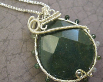 Harmony - Bloodstone Wire Woven Pendant