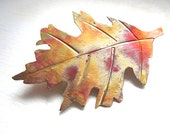 Copper Oak Leaf Brooch Hand Forged Metalwork Autumn Leaves Eco Friendly Fall Fashion Jewelry