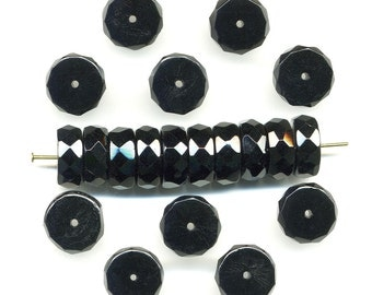 Vintage Black Beads 12mm Jet Glass Faceted Rondelle Spacers
