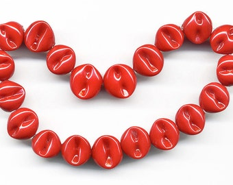 Vintage Red Beads 11mm Opaque Pinched Glass Made in Japan 20 Pcs.