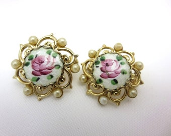 Enamel Brooches - Guilloche Pink Painted Roses 1950s Costume Jewelry