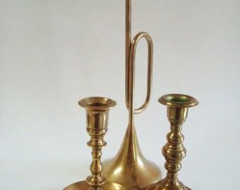 Vintage Brass Candlestick Holder Set of 3 Mismatched