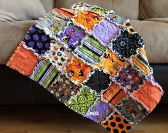 Halloween Baby Quilt, Rag Quilt, Baby Blanket, Costume Clubhouse, Fun, Modern, Purple, Orange