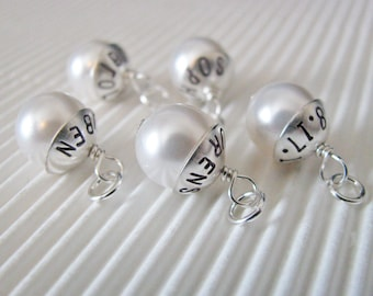 personalized capped pearl charm