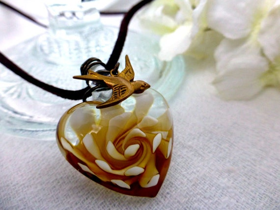 Boho To Love Glass Heart Choker Necklace in Blue or Gold - Mouth Blown Flower Puff Heart Pendant