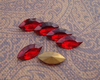 Vintage 15x7mm Ruby Red Czech Gold Foiled Pointed Back Glass Navette Jewels or Cabs (6 pieces)