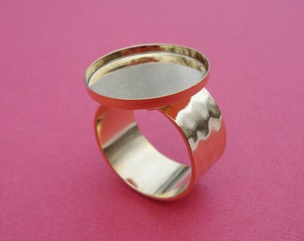 Gold Plated Adjustable Ring with 10mm Hammered Band and 18mm Round Setting (1 piece)