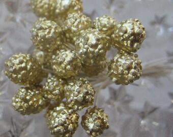 Germany Millinery Flower Stamen Gold Berry Peps 48 Stems  G19