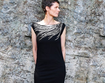 Womens Black T Shirt Dress - Southwest Metallic Silver Feather Print - Wear Day and Night - For Her