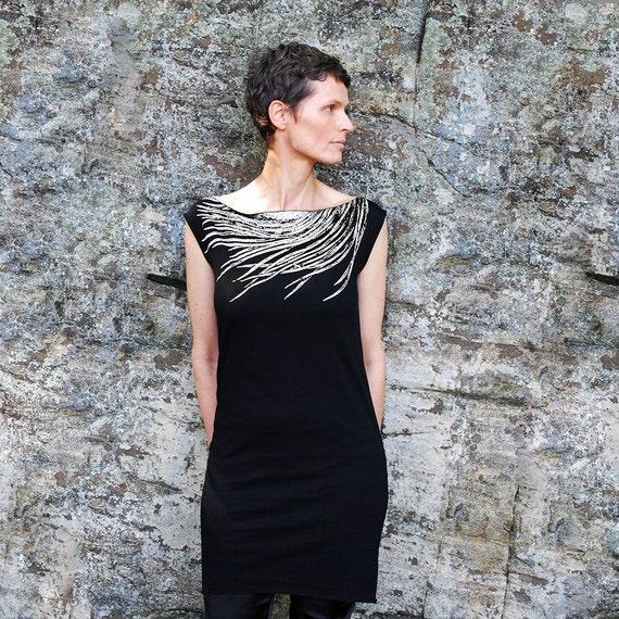 Sale womens black t shirt dress southwest metallic silver for Silver metallic shirt women s