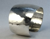 Sterling Silver Cuff Bracelet, Wide,  Hammered and Tapered