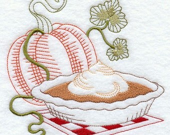 Embroidered Pumpkin Pie Vintage Look Flour Sack Towel