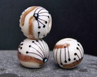 MruMru Handmade Lampwork Glass Bead  set. Sra. Trio