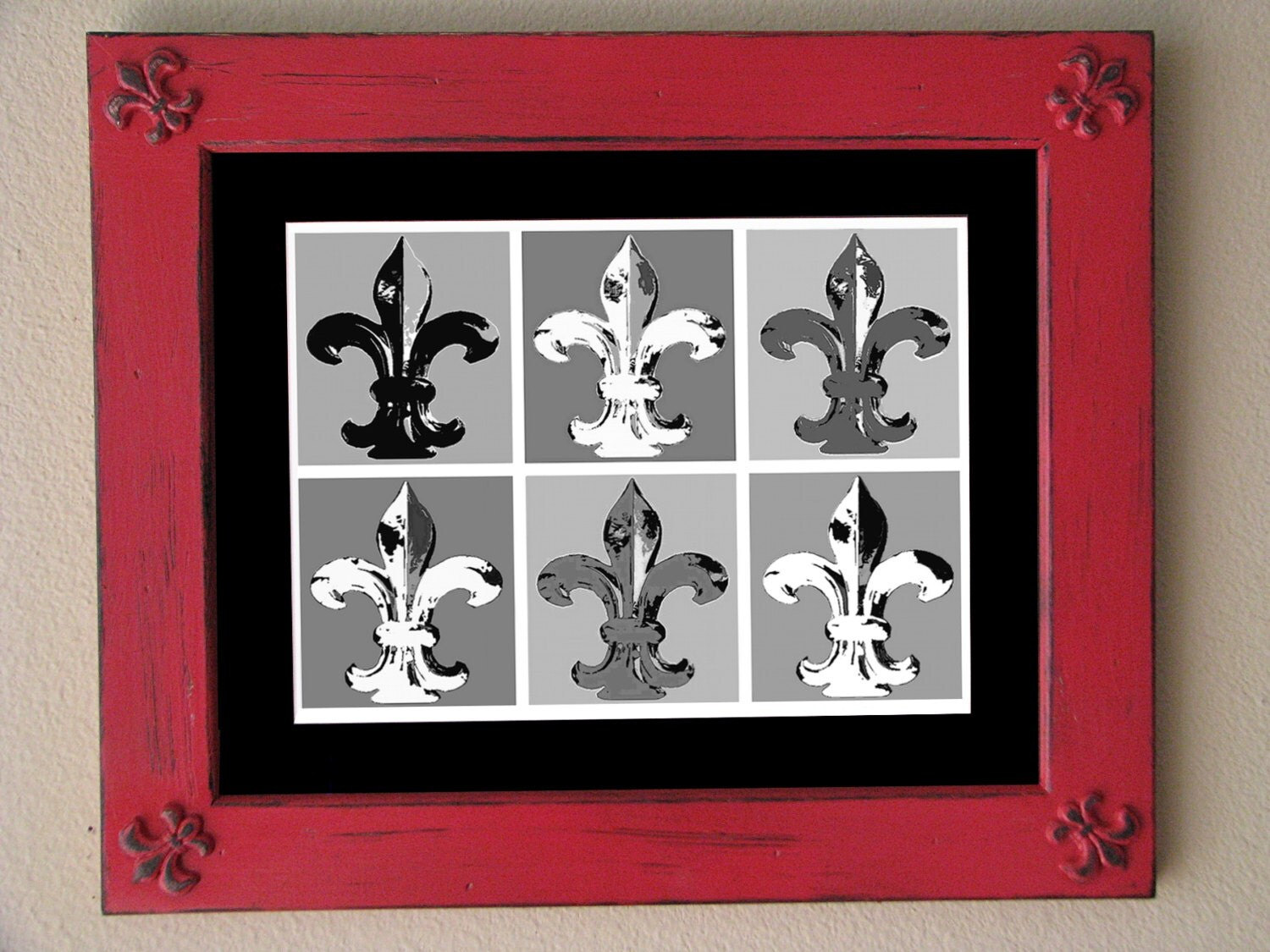 Fleur De Lis Distressed Framed Black And White By