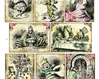 Alice in Wonderland ATC Size Digital Collage Sheet 2.5 x 3.5 Inch - DP323